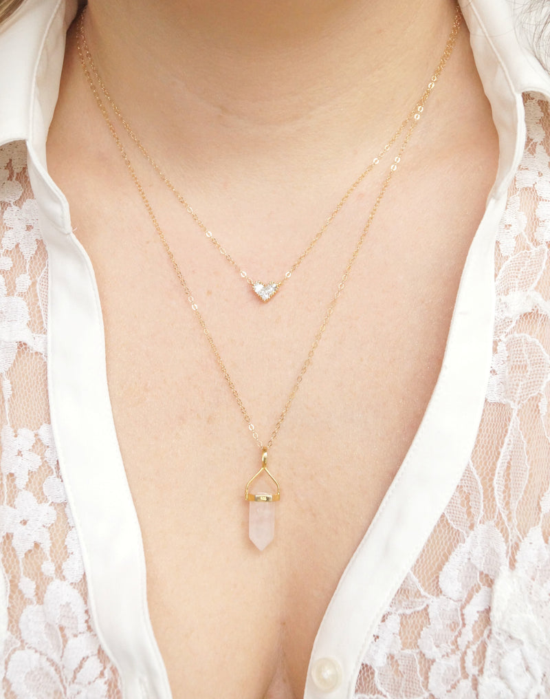 Gold Heart Necklace, Necklace, - Wander + Lust Jewelry
