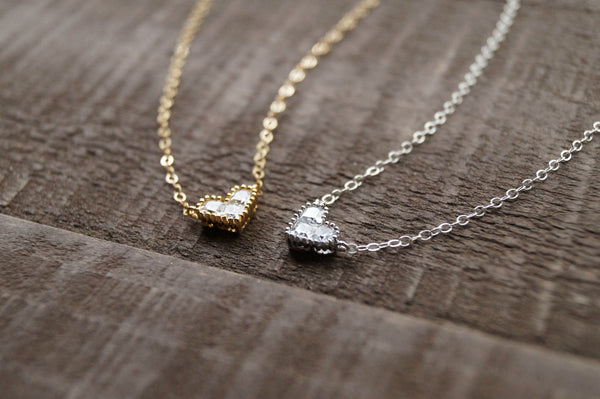 Silver Heart Necklace, Necklace, - Wander + Lust Jewelry