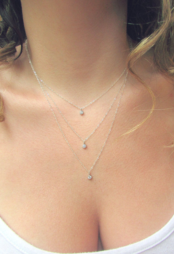 Triple Silver Layered Necklace Set, Layered Necklace, - Wander + Lust Jewelry