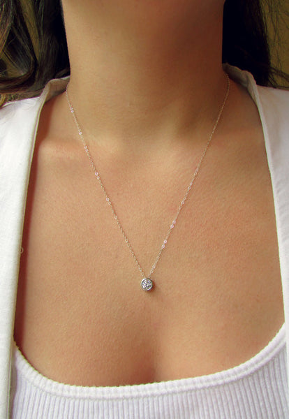 Floating Diamond Silver Necklace - Wander + Lust Jewelry  - 2