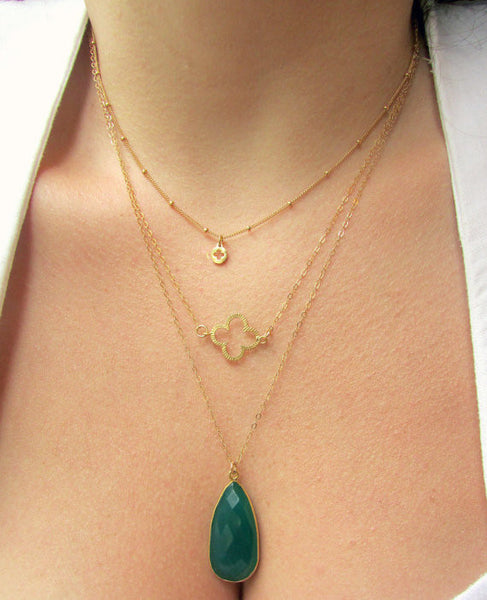 Lucky Clover Necklace, Necklace, - Wander + Lust Jewelry