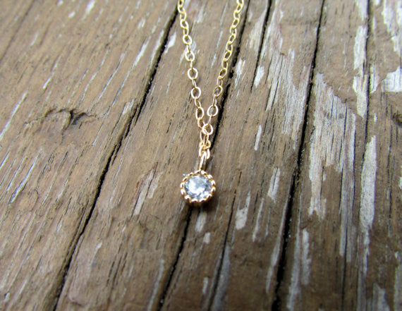 Tiny CZ Gold Necklace, Necklace, - Wander + Lust Jewelry