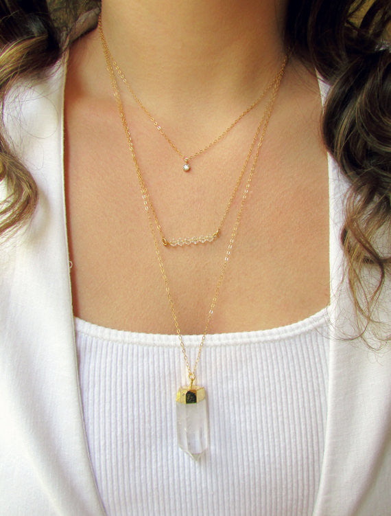 Tiered Crystal Necklace Set, Layered Necklace, - Wander + Lust Jewelry