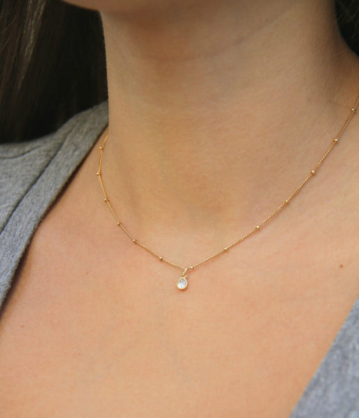 Starry CZ Teardrop Necklace, Necklace, - Wander + Lust Jewelry