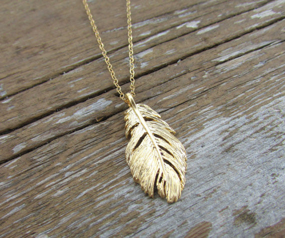 Gold Feather Necklace, Necklace, - Wander + Lust Jewelry