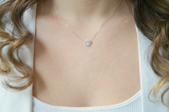 Silver Lotus Flower Necklace, Necklace, - Wander + Lust Jewelry