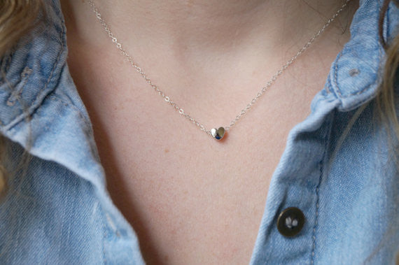 Tiny Silver Heart Necklace, Necklace, - Wander + Lust Jewelry
