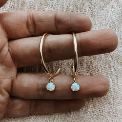Serafina Opal Hoops, Earrings, - Wander + Lust Jewelry