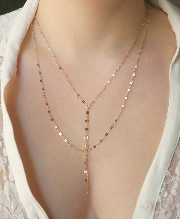 Double Strand Y Necklace, Layered Necklace, - Wander + Lust Jewelry