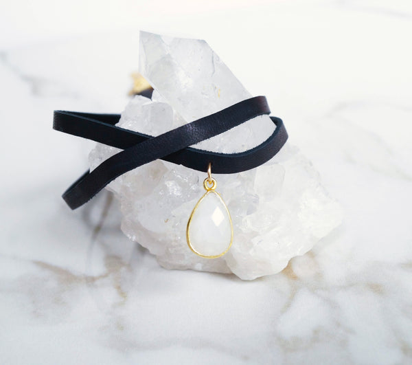 Moonstone Leather Choker, Necklace, - Wander + Lust Jewelry
