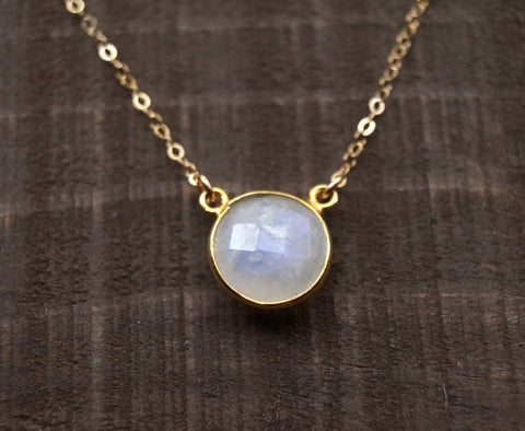 Moonstone Circle Necklace, Necklace, - Wander + Lust Jewelry