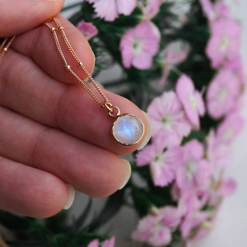 Tiny Moonstone Necklace, Necklace, - Wander + Lust Jewelry