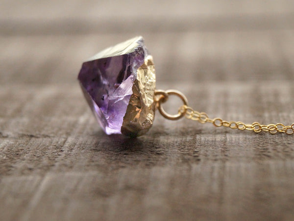 Raw Amethyst Necklace - Wander + Lust Jewelry  - 2