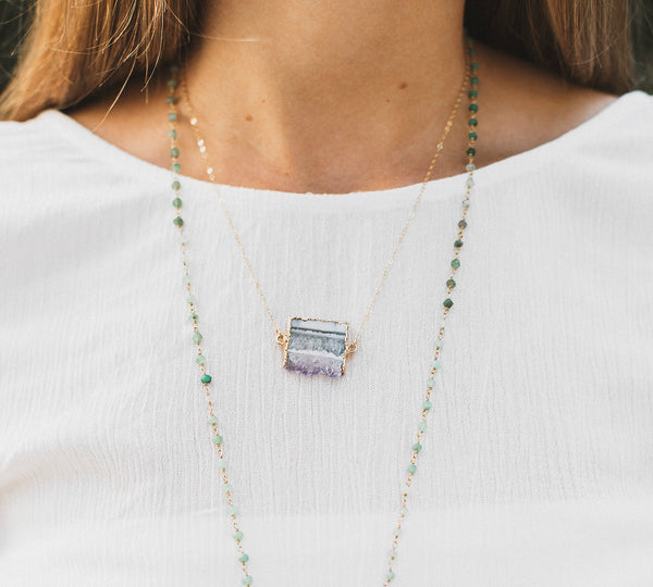 Petite Amethyst Slice Necklace, Necklace, - Wander + Lust Jewelry