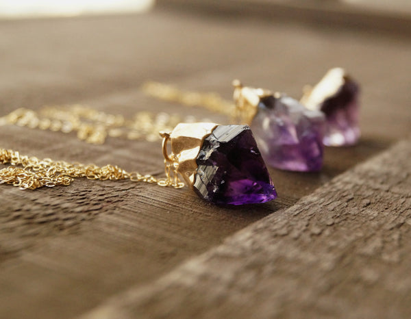 Raw Amethyst Necklace - Wander + Lust Jewelry  - 5