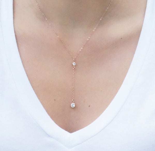 Rose Gold Y Necklace, Necklace, - Wander + Lust Jewelry