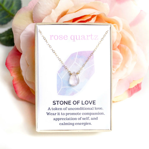 Rose Quartz Healing Jewel Necklace - Wander + Lust Jewelry  - 1