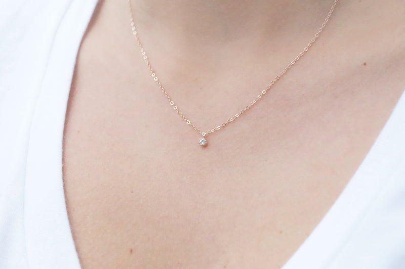 Tiny Rose Gold Necklace, Necklace, - Wander + Lust Jewelry