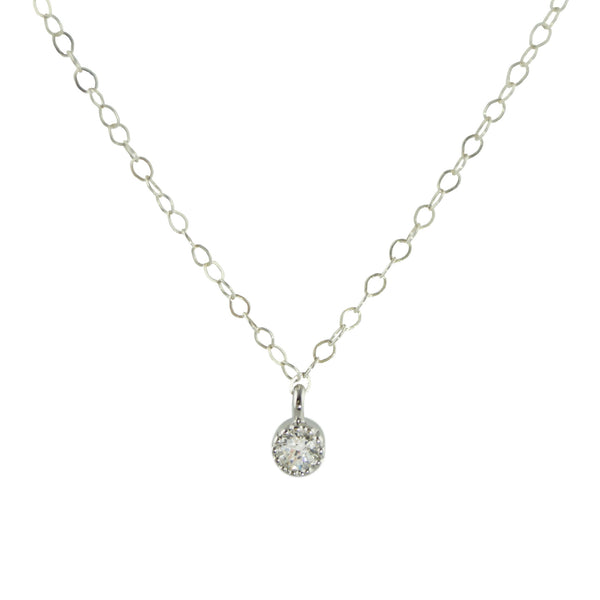 Tiny CZ Silver Necklace, Necklace, - Wander + Lust Jewelry