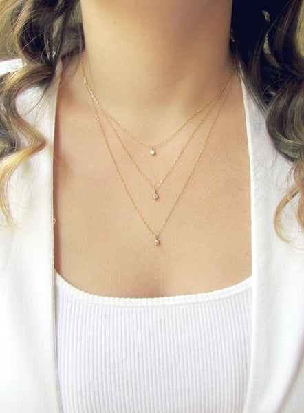 Triple Gold Layered Necklace Set, Layered Necklace, - Wander + Lust Jewelry