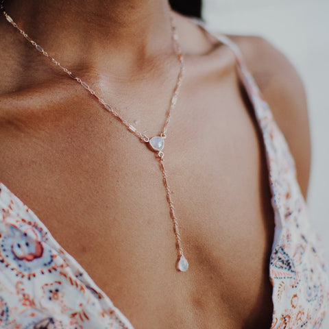 Luna Moonstone Y Necklace, Necklace, - Wander + Lust Jewelry