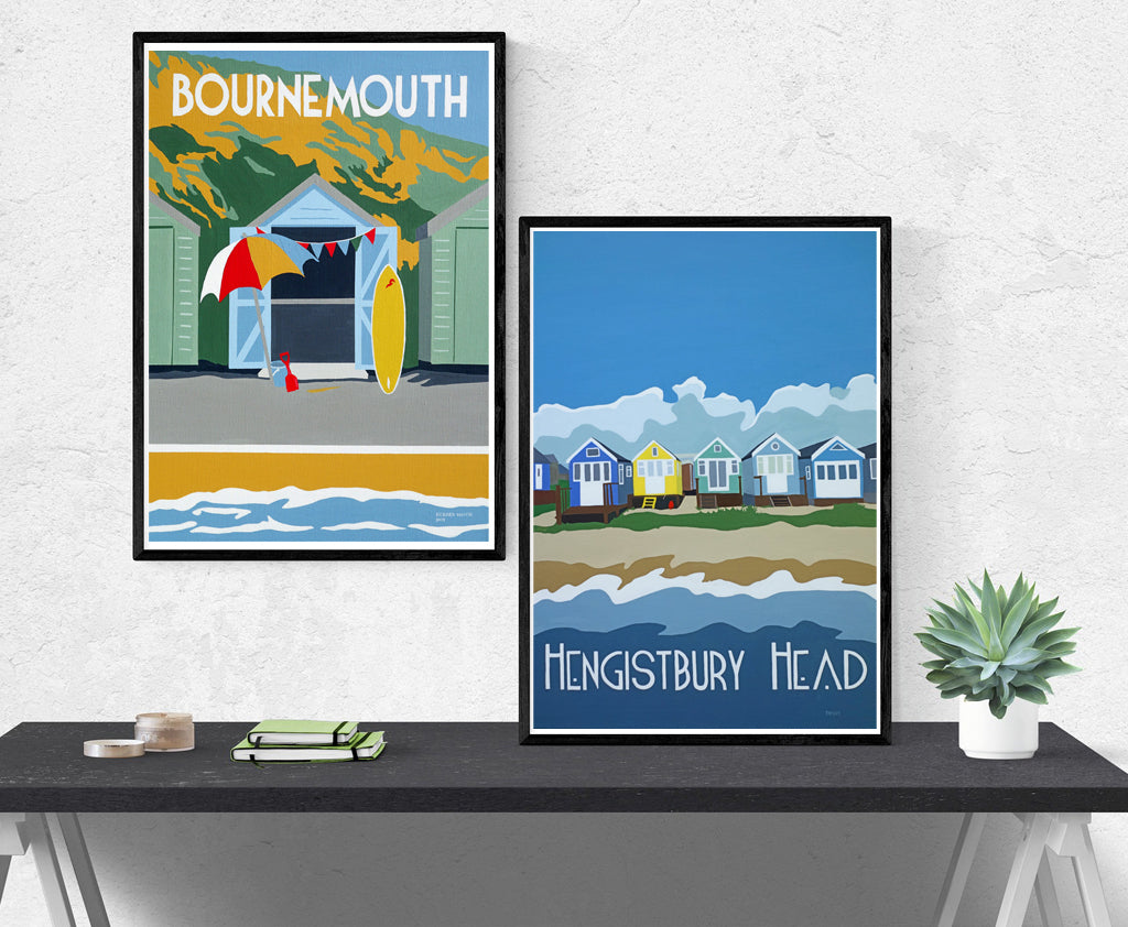 Bournemouth Christchurch Poole retro Travel prints