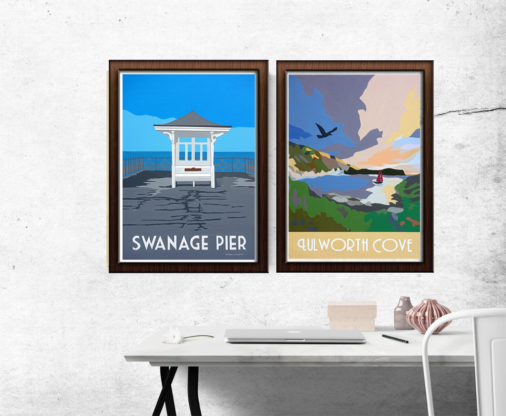 Jurassic Coast and Isle of Purbeck retro travel prints