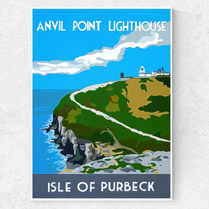 Anvil Point Lighthouse Print Dorset Print