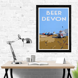 Devon Beer Beach Fishing Boats Print