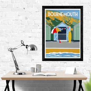 Dorset Bournemouth Beach Huts with Parasol and Surfboard Print