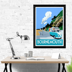 Dorset Bournemouth Beach Huts with Blue VW Camper Van print