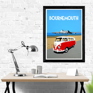 Dorset Bournemouth Pier with Red VW Camper Van Print