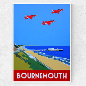 Dorset Bournemouth Beach with Red Arrows Print