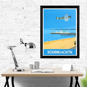 Dorset Bournemouth Pier with Spitfire Print