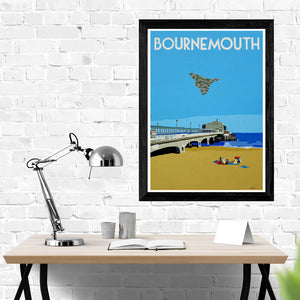 Dorset Bournemouth Pier with Vulcan Bomber Print