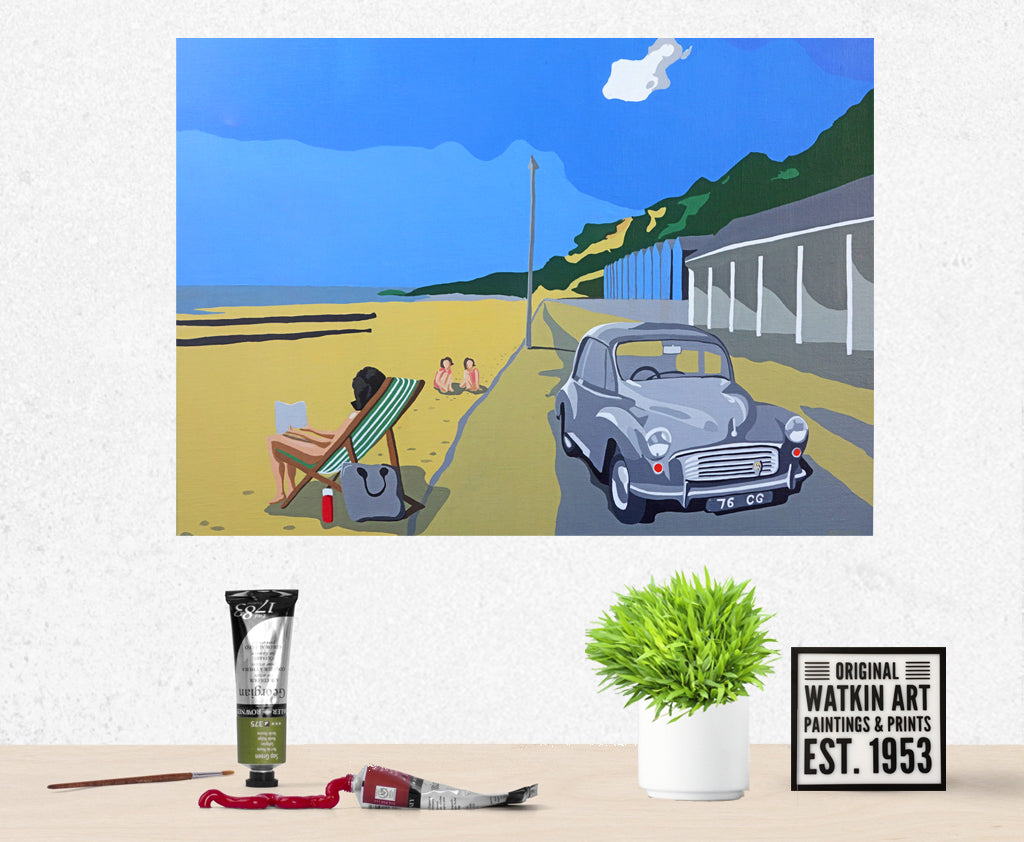 Dorset Bournemouth Beach with Morris Minor  Commission