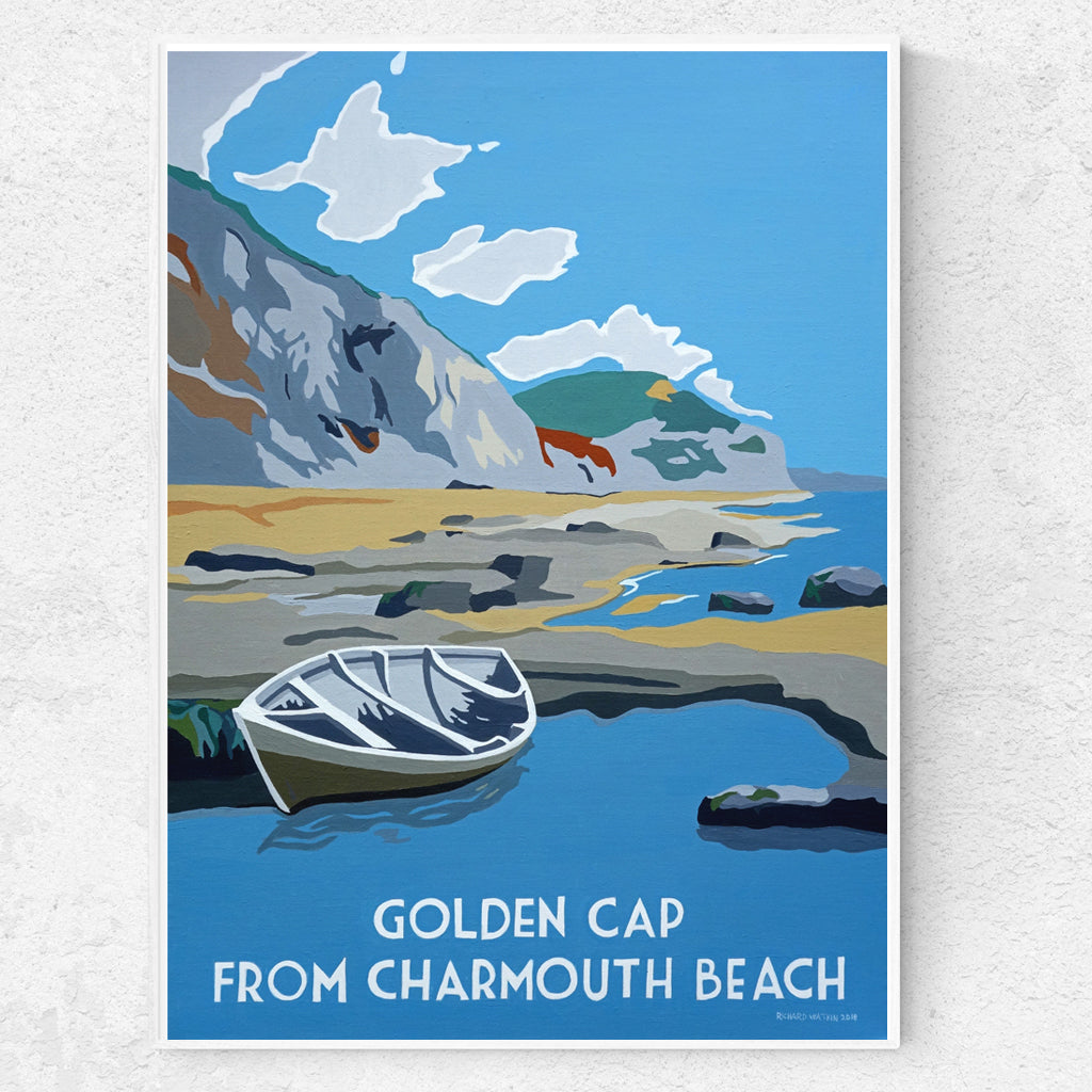 Dorset Jurassic Coast Charmouth beach and Golden Cap print