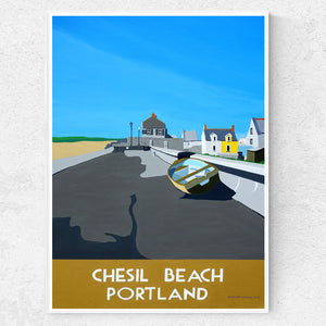 Dorset Chesil Beach with Cove House Inn print
