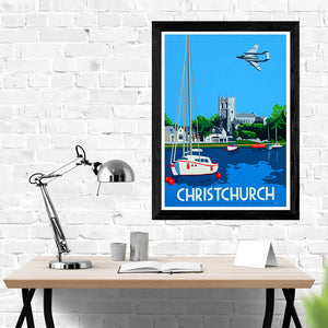 Dorset Christchurch with Priory and Sea Vixen Print