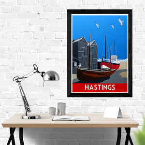Hastings Sussex Fishing Boats and Black Huts Print