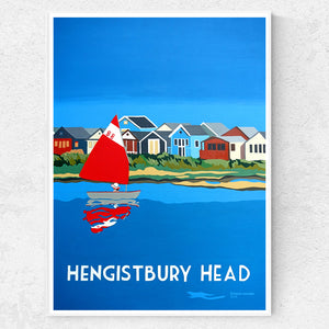 Dorset Hengistbury Head Beach Huts with Boat  in Christchurch Harbour Print