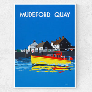 Dorset Christchurch Mudeford Quay with Motor Boat print
