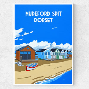 Dorset Christchurch Mudeford Spit Beach Huts print