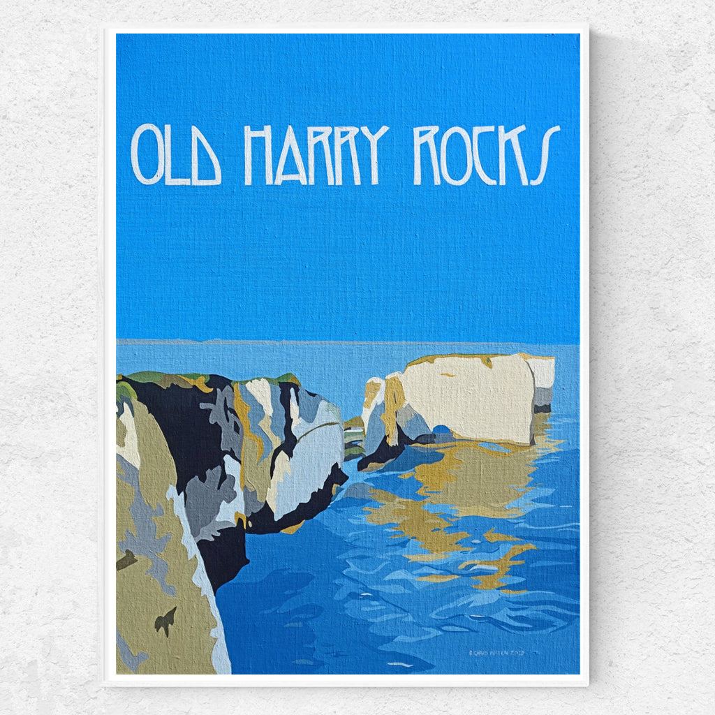 Dorset Jurassic Coast Purbecks Old Harry Rocks Evening Light print