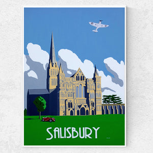 Wiltshire Salisbury Cathedral with Spitfire and MG Print
