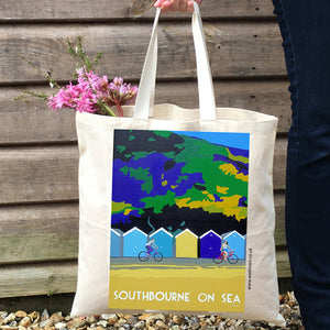 Southbourne Beach Huts Dorset Tote Bags