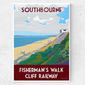 Dorset Bournemouth Southbourne Fisherman's Cliff Funicular Railway Print