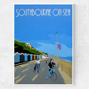 Dorset Bournemouth Southbourne Promenade Cliffs and Beach Huts print