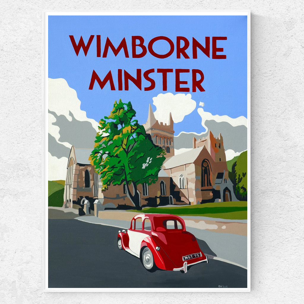 Dorset Wimborne Minster Red and White MGY Print