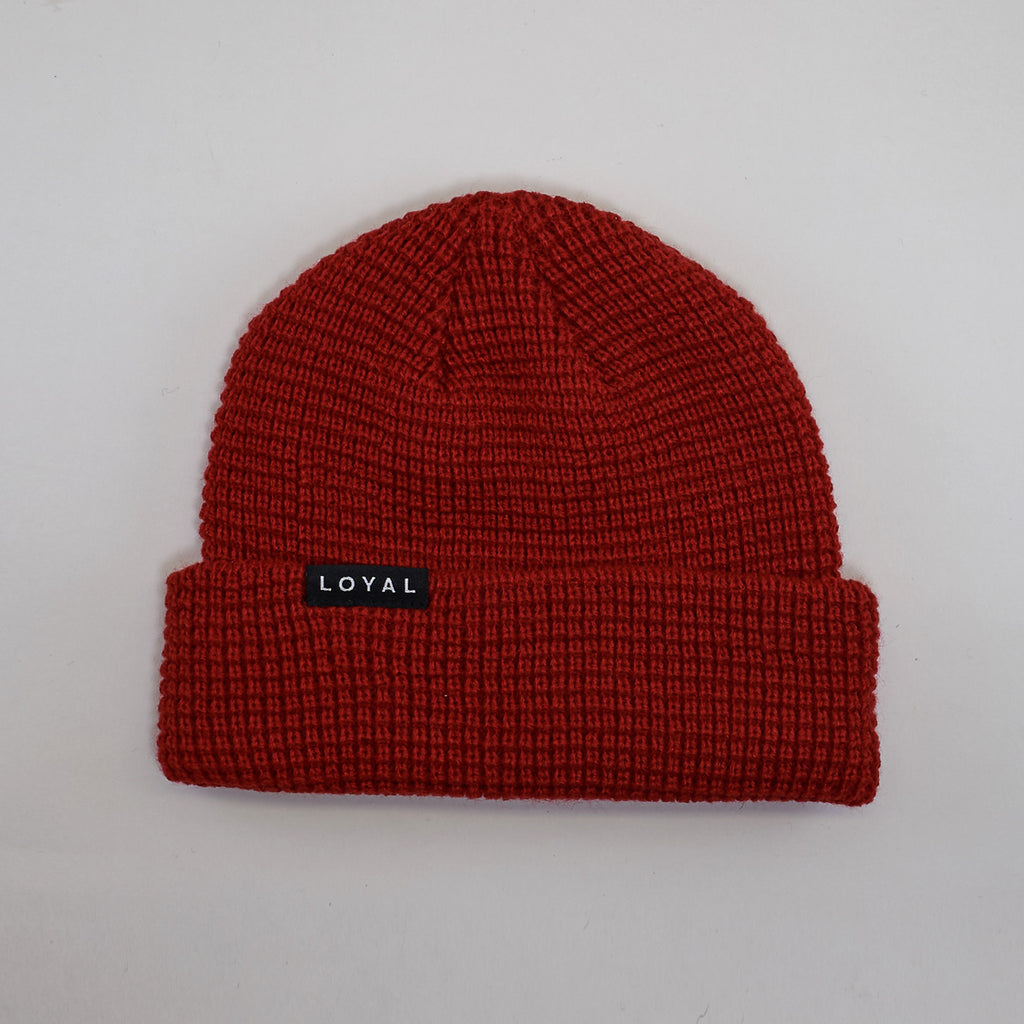 FITTED WAFFLE HAT - RED